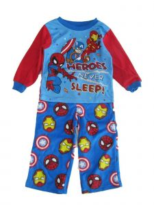 Marvel Little Boys Red Blue Avengers Print Long Sleeve 2 Pc Pajama Set 2-4T