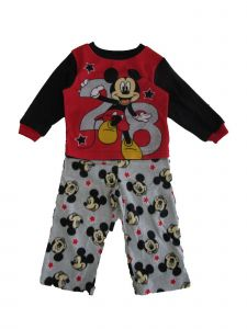 Disney Little Boys Gray Red Mickey Mouse Long Sleeve 2 Pc Pajama Set 2-4T