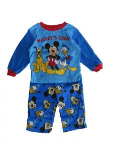 "Disney Little Boys Royal Blue ""Mickey's Crew"" Long Sleeve 2 Pc Pajama Set 2-4T"