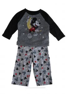 Disney Little Boys Gray Black Mickey Mouse Long Sleeve 2 Pc Pajama Set 2-4T