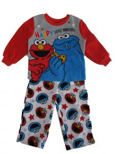 "Sesame Street Little Boys Red ""Happy Little Monsters"" 2 Pc Pajama Set 2-4T"