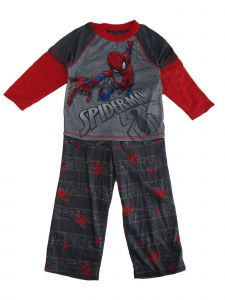 Marvel Big Boys Red Gray Spiderman Print Long Sleeve 2 Pc Pajama Set 8-10
