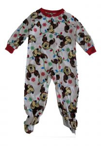 Disney Little Boys White Red Mickey Mouse Snowflake Zip-Up Footed Sleeper 2-4T