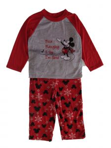 Disney Little Boys Gray Red Mickey Mouse Long Sleeve 2 Pc Pajama Set 4-6