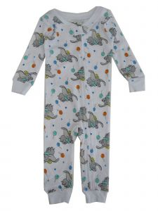 Disney Unisex Baby White Dumbo Print Long Sleeve Footless Sleeper 12-24M