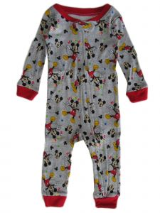 Disney Baby Boys Grey Mickey Mouse Long Sleeve Pajama Jumper 12-24M