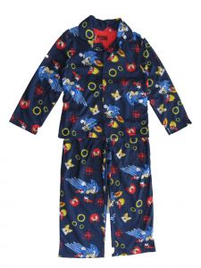Sonic Little Boys Navy The Hedgehog Button Up Long Sleeve Pajama Set 4-6