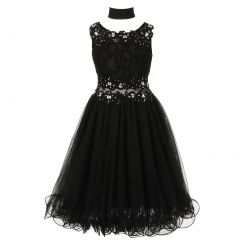 Big Girls Black Lace Mesh Rhinestone Wired Flower Girl Dress 8-20