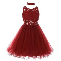 Big Girls Burgundy Lace Mesh Rhinestone Wired Flower Girl Dress 8-20