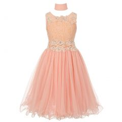 Little Girls Peach Lace Mesh Rhinestone Wired Flower Girl Dress 4-6