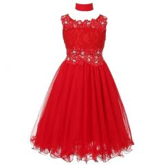 Big Girls Red Lace Mesh Rhinestone Wired Flower Girl Dress 8-20