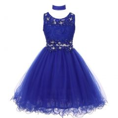Big Girls Royal Blue Lace Mesh Rhinestone Wired Flower Girl Dress 8-20