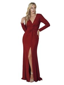 Amelia Couture Womens Red Fitted Long Sleeve Dress with V-Neck 16
