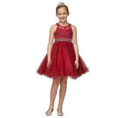 Little Girls Burgundy Rhinestone Pearl Beaded Mesh Flower Girl Dress 4-6