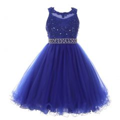 Little Girls Royal Blue Rhinestone Pearl Beaded Mesh Flower Girl Dress 4-6