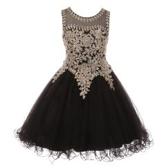Big Girls Black Gold Coiled Lace Studded Illusion Junior Bridesmaid Dress 8-20