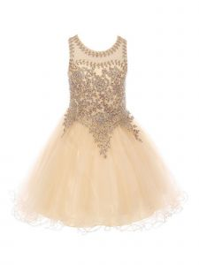 Big Girls Champagne Gold Trim Wire Tulle Junior Bridesmaid Dress 20