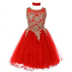 Little Girls Red Gold Trim Wire Tulle Flower Girl Dress 4-6