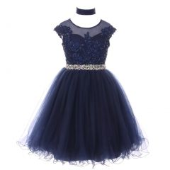 Big Girls Navy Sequin Lace Tulle Bejeweled Junior Bridesmaid Dress 8-16