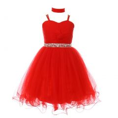 Little Girls Red Rhinestone Beaded Wired Tulle Mesh Flower Girl Dress 4-6