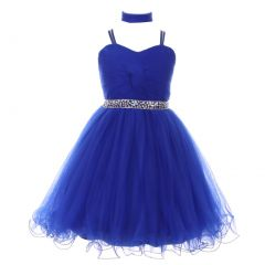 Little Girls Royal Blue Rhinestone Wired Tulle Mesh Flower Girl Dress 4-6