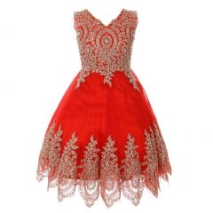 Big Girls Red Gold Coiled Lace Mesh Elegant Junior Bridesmaid Dress 8-16