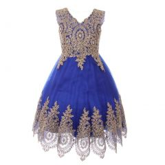 Little Girls Royal Blue Gold Coiled Lace Mesh Elegant Flower Girl Dress 4-6