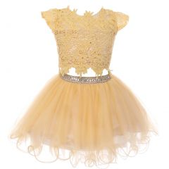 Big Girls Champagne Lace Top Tulle Rhinestone 2 Pc Skirt Outfit 8-16