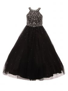 Big Girls Black Dazzling Halter Beaded Tulle Special Occasion Dress 8-16