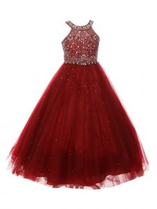 Big Girls Burgundy Dazzling Halter Beaded Tulle Special Occasion Dress 8-16