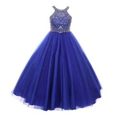 Big Girls Royal Blue Dazzling Halter Beaded Tulle Special Occasion Dress 8-16