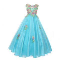 Little Girls Aqua Pink Floral Embroidered Lace Tulle Flower Girl Dress 4-6