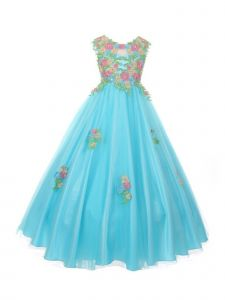 Big Girls Aqua Pink Floral Embroidered Lace Tulle Junior Bridesmaid Dress 12