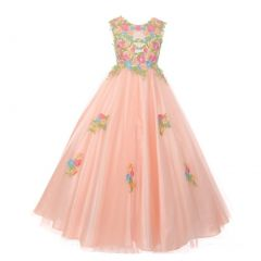 Big Girls Blush Pink Floral Embroidered Lace Tulle Junior Bridesmaid Dress 8-16