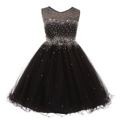 Little Girls Black Sparkling Rhinestone Illusion Tulle Party Formal Dress 4-6