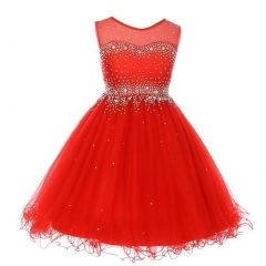 Big Girls Red Sparkling Rhinestone Illusion Tulle Party Formal Dress 8-16