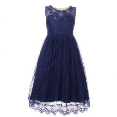 Big Girls Navy Floral Decorated Lace Junior Bridesmaid Dress 8-12