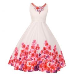 Little Girls White Pink Rose Print Beaded Flower Girl Dress 2-6