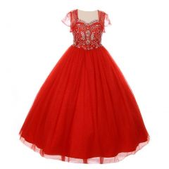Little Girls Red Bedazzled Rhinestone Tulle Bolero Special Occasion Dress 4-6