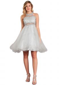 Big Girls Silver Rhinestone Halter Neck Lace Tulle Junior Bridesmaid Dress 18