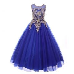 Big Girls Royal Blue Gold Rhinestone Cording Tulle Junior Bridesmaid Dress 8-16