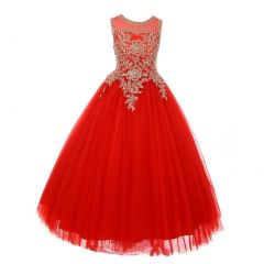 Little Girls Red Gold Rhinestone Cording Illusion Flower Girl Dress 4-6