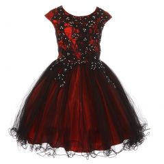 Big Girls Red Black Rhinestone Embroidered Lace Junior Bridesmaid Dress 8-16