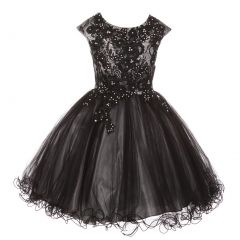 Little Girls Silver Black Rhinestone Embroidered Lace Flower Girl Dress 4-6