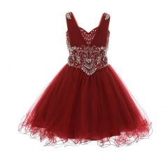 Big Girls Burgundy Sweet Heart Rhinestone Wire Hem Junior Bridesmaid Dress 8-16