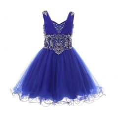 Big Girls Royal Blue Sweet Heart Rhinestone Junior Bridesmaid Dress 8-16