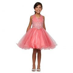 Little Girls Coral Sweet Heart Rhinestone Wire Hem Flower Girl Dress 4-6