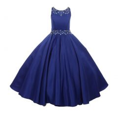 Little Girls Royal Blue Beaded Pleated Dull Satin Flower Girl Dress 4-6