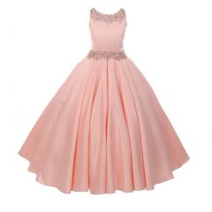Big Girls Blush Shimmery Beaded Pleated Dull Satin Junior Bridesmaid Dress 8-16