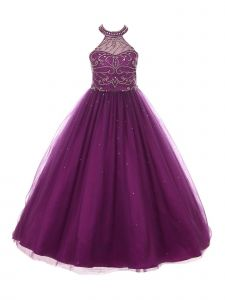 Big Girls Plum Rhinestone Dazzling Halter Neck Tulle Party Dress 8-16